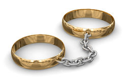 Connected rings (clipping path included) Stock Photos