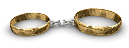 Connected rings (clipping path included) Stock Images