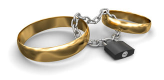 Connected rings and lock (clipping path included) Stock Photography