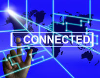 Connected Screen Indicates Networking connecting and Internation Stock Image