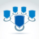 Connected shields vector icon. Royalty Free Stock Photos