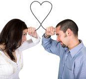 Connected soulmates - heart shape of love Royalty Free Stock Images