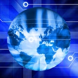 Connected Technology World Globe Google. A world globe with computer circuits and a blue tone Stock Images