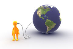 Connected to the world. A character is connected to the world stock illustration