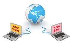 Connected to the World - Access Control. Two laptops connected to a blue 3D globe - access control/protection Stock Photos