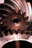 Connected toothed gear-pinion closeup shipping industrie stock photos