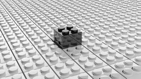 Connected white lego blocks Stock Photo