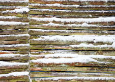 Connected wooden fence wall with snow in winter Royalty Free Stock Photography