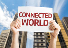 Connected World card with a urban background Royalty Free Stock Images