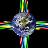 Connected world - Colored cables wired to Earth Stock Photo