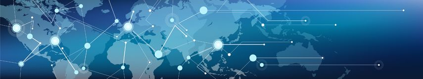 Connected world map banner – communication / logistics and transportation / commerce, digitalization and connectivity. Banner with world map overlaid by vector illustration