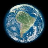 Connected world South America view Stock Images