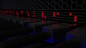 Connecteurs de serveur et lampes rouges de clignotant Concepts de storage technology ou de centre de traitement des données de nu illustration de vecteur