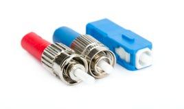 Connecteurs optiques de fibre, St, Sc et FC Photo stock