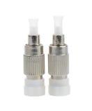 connecteurs optiques de fibre, St, Sc et FC d'isolement sur le backgrou blanc photographie stock