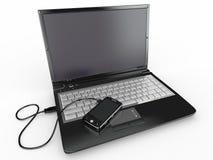 Connectez. Concept d'ordinateur portatif et de téléphone portable. Photographie stock libre de droits