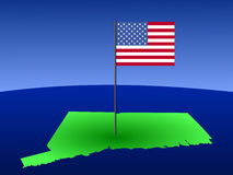 Connecticut with American Flag Royalty Free Stock Photography