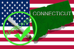 Connecticut on cannabis background. Drug policy. Legalization of marijuana on USA flag, Stock Photos