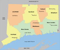 Connecticut county map Stock Photo
