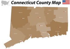 Connecticut county map Stock Images
