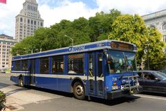 CT transit Bus in Hartford, Connecticut, USA Royalty Free Stock Images