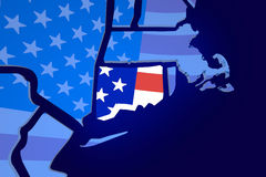 Connecticut CT USA United States America Flag Map Stock Images