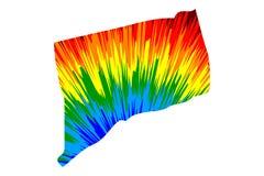 Connecticut - el mapa es modelo colorido diseñado del extracto del arco iris libre illustration