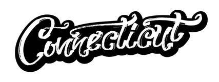 connecticut etikett Modern kalligrafihandbokstäver för serigrafitryck Arkivfoto
