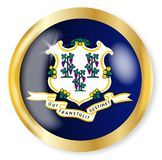 Connecticut Flag Button. Connecticut state flag button with a gold metal circular border over a white background Stock Image