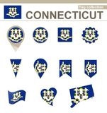 Connecticut Flag Collection. 12 versions royalty free illustration