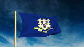 Connecticut flag slider style. Waving in the win. Connecticut flag slider style. Waving with cloud background animation stock video footage