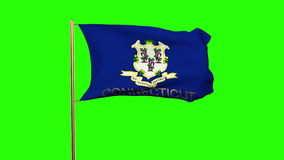 Connecticut flag with title waving in the wind stock video footage