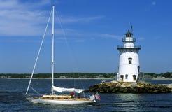 Connecticut fyr för Saybrook vågbrytare Fotografering för Bildbyråer