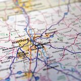 Connecticut Highway Map or Atlas. Closeup of road atlas of Connecticut, USA around Hartford and New Britain stock photography