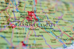 Connecticut on map. Close up shot of Connecticut. is the southernmost state in the New England Stock Photo