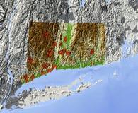 Connecticut, mapa de relevo Ilustração Royalty Free