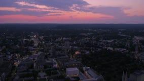 Connecticut New Haven a noite aérea 4K do julho de 2017 inspira 2 filme