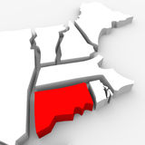 Connecticut Red Abstract 3D State Map United States America. A red abstract state map of Connecticut, a 3D render symbolizing targeting the state to find its Stock Photos