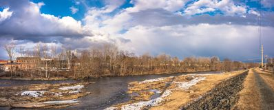 Connecticut River in the City of Westfield. Cloudy Sky above the City of Westfield and the Connecticut River, State of Massachusetts, Beautiful panoramic view Royalty Free Stock Photography
