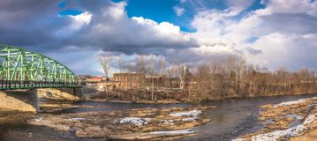 Connecticut River in the City of Westfield. Cloudy Sky above the City of Westfield and the Connecticut River, State of Massachusetts, Beautiful panoramic view Royalty Free Stock Image
