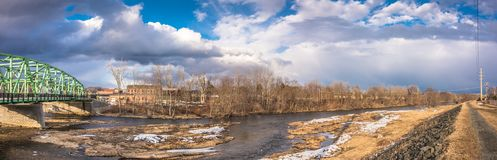 Connecticut River in the City of Westfield. Cloudy Sky above the City of Westfield and the Connecticut River, State of Massachusetts, Beautiful panoramic view Stock Photography