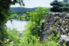 The Connecticut River in East Haddam Connecticut. The Connecticut River flowing through East Haddam near Gillette Castle State Park in New London County stock photo