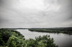 Connecticut river. View of Connecticut river on summer cloudy day Royalty Free Stock Images