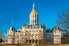 Connecticut State Capitol. On a sunny afternoon. The building houses the State Senate, the House of Representatives and the office of the Governor royalty free stock photos