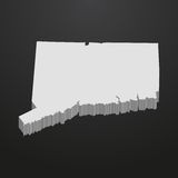 Connecticut State map in gray on a black background 3d Royalty Free Stock Photo
