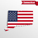 Connecticut State map with US flag inside and ribbon Stock Image