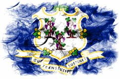 Connecticut state smoke flag, United States Of America. On a white background Royalty Free Stock Photos