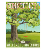 Connecticut travel poster or sticker. Vector illustration of large oak tree in the country with red swing vector illustration