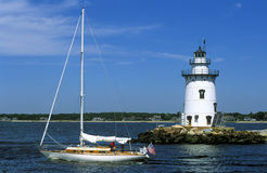 Connecticuts Saybrook-Wellenbrecher-Leuchtturm Stockbild