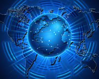 Connecting. Blue earth with map ,abstract technology Royalty Free Stock Photo